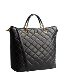 Dolce & Gabbana black quilted leather large convertible tote