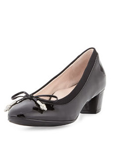 Taryn Rose Fairlawn Patent Low-Heel Bow Pump, Black