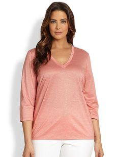 Lafayette 148 New York, Sizes 14-24 V-Neck Top