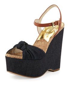 MICHAEL Michael Kors Benji Denim Platform Wedge