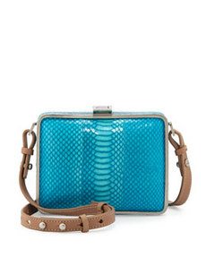 Foley + Corinna Cadeau Snakeskin-Print Leather Crossbody Tote, Turquoise