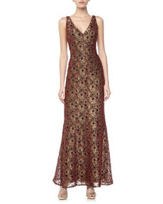 Carmen Marc Valvo V-Neck Metallic Lace Gown, Gold/Red