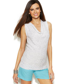 INC International Concepts Sequin-Embellished Draped-Neck Sleeveless Top
