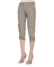 Alice + Olivia Narrow Tab-Cuff Cargo Pants