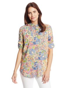 Jones New York Women's Drop Shoulder Shirt with Panel