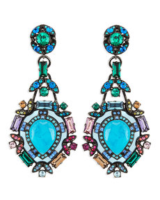 Lanvin Multicolor Crystal Clip Earrings