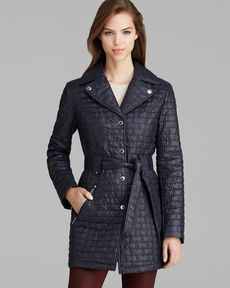 Laundry by Shelli Segal Coat - Mini Quilted Single-Breasted Belted Trench