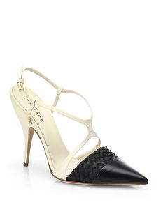 Narciso Rodriguez Bicolor Leather Cage Pumps