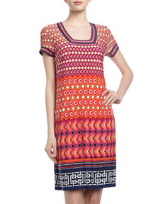 Laundry by Shelli Segal Short-Sleeve Geometric Print Shift Dress, Pop Orange
