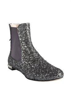 Miu Miu pewter glitter leather and crystal detail flat ankle boots