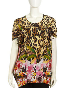 Lafayette 148 New York Kendra Floral/Animal-Print Blouse, Spectrum