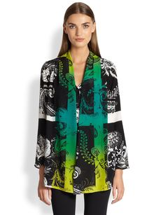 Etro Quadrant Print Shawl Collar Blouse