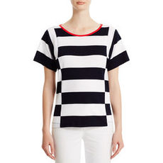Short Sleeve Cotton Boxy Body Shirt with Boat Neck