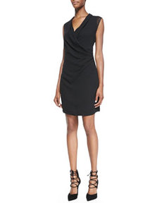 Kinsley Mesh-Sleeve Draped Dress   Kinsley Mesh-Sleeve Draped Dress