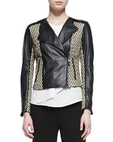 Etro Basketweave Leather Moto Jacket, Black/Ivory