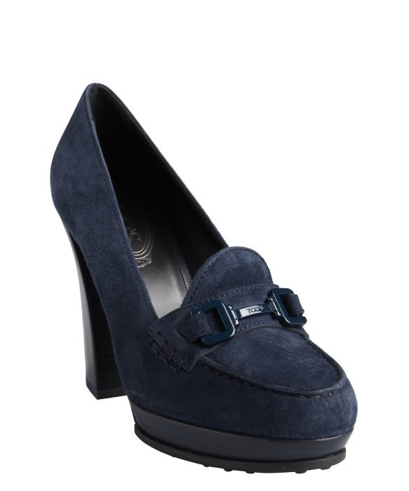 Tod's navy suede moc toe wooden heel loafer pumps