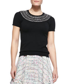 Beaded Short-Sleeve Knit Tee   Beaded Short-Sleeve Knit Tee