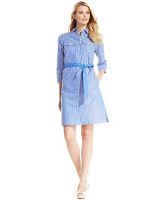 Jones New York Signature Three-Quarter-Sleeve Striped Polka-Dot Belt Shirtdress