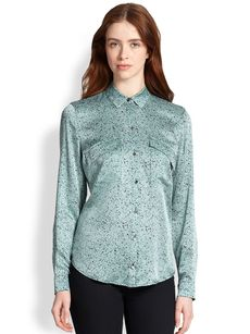 Robert Rodriguez Granite Silk Blouse