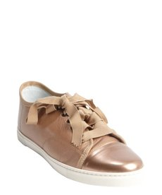 Lanvin rose leather grosgrain lace cap toe sneakers