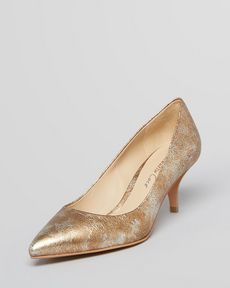 Kenneth Cole New York Pointed Toe Pumps - Mirror Kitten Heel