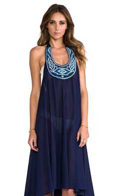 Shoshanna Embroidery Halter Midi Dress in Navy