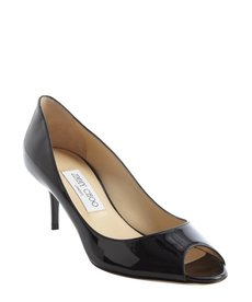 Jimmy Choo black leather peep toe 'Isabel' pumps