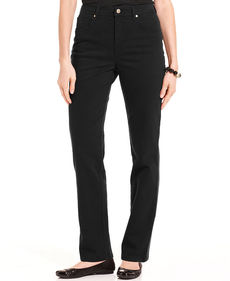 Charter Club Jeans, Tummy-Control Straight Leg, Black Wash