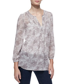 Carim Silk Bird-Print Blouse   Carim Silk Bird-Print Blouse