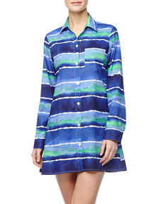 Tommy Bahama Wave-Print Boyfriend Shirt Coverup