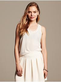 Chain-Trim Crepe Tank