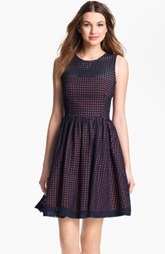 French Connection Embroidered Cotton Eyelet Fit & Flare Dress