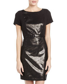 Laundry by Shelli Segal Metallic Ponte Belted Dress