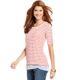 Style&co. Petite Striped Mixed-Media Chiffon-Back Top