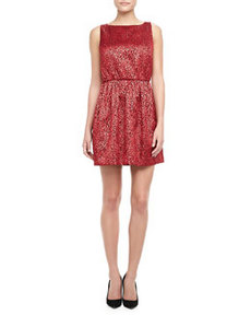 Alice + Olivia Vita Metallic Jacquard Dress