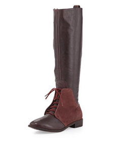 Kooba Serenity Suede/Leather Lace-Up Boot, Wine