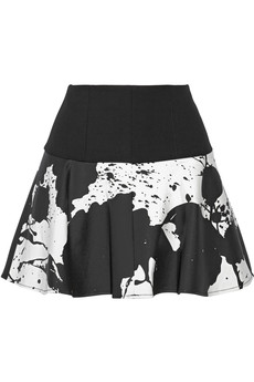 Tibi Coated cotton-blend mini skirt