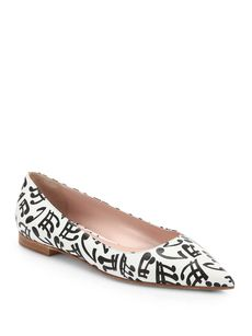 Miu Miu Music Note-Print Leather Ballet Flats