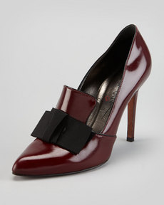 Lanvin Shiny Leather Loafer Pump