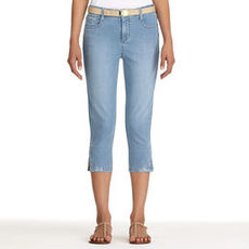 Denim Cropped Pants with Side Slits