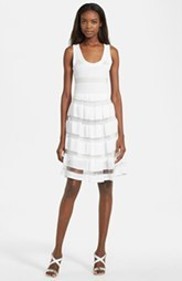 Tracy Reese Mesh Stripe Pointelle Knit Fit & Flare Dress