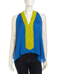 T Bags Sleeveless Beaded V-Neck Chiffon Blouse, Royal