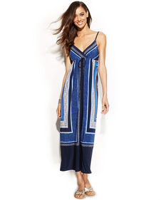 INC International Concepts Petite Surplice-Neck Printed Maxi Dress
