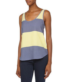 French Connection Wide-Stripe Flowy Tank, Beach Club/Cornflower Blue