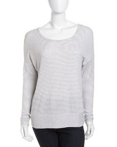 Three Dots Micro-Stripe Knit Sweater, White