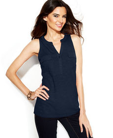 INC International Concepts Petite Sequin-Trim Split-Neck Sleeveless Top
