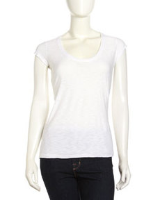 James Perse Cap-Sleeve Scoop-Neck Tee, White
