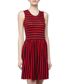 French Connection Sleeveless Striped Jersey Dress, Navy/Love Red
