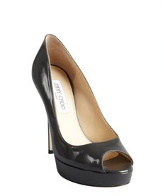 Jimmy Choo smoked grey patent leather 'Crown' peep toe pumps