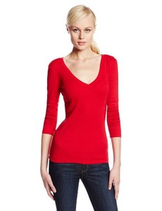 Three Dots Red Women's Long Sleeve Deep Narrow V-Neck